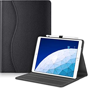"Fintie Case for iPad Air (3rd Gen) 10.5"" 2019 / iPad Pro 10.5"" 2017- [Sleek Shield] Premium PU Leather Slim Fit Multi Angle Stand Cover with Pocket, Pencil Holder, Auto Wake/Sleep, Black"