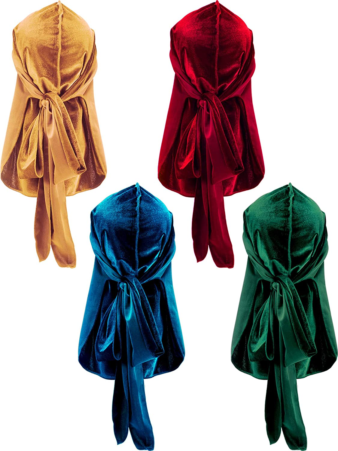 4 Pieces Mens Velvet Durag with Long Tail Soft Durag Headwraps for 360 Waves