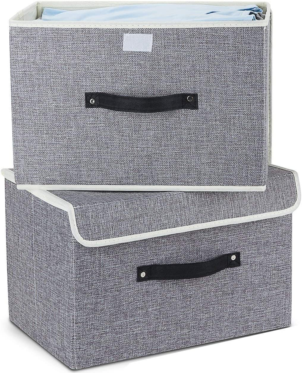Storage Boxes Set of 2,EZ GENERATION Cotton Fabric Foldable Storage Bins Baskets with Lids and Handles Container Clothes Blanket for Books Toys DVDs Art and Craft Washing Laundry Organiser(Light Grey)