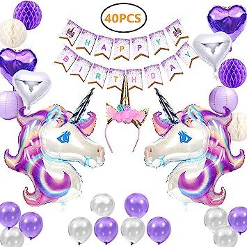 Unicorn Party Supplies, 39 unidades de pancarta de cumpleaños y decoraciones de fiesta para niñas