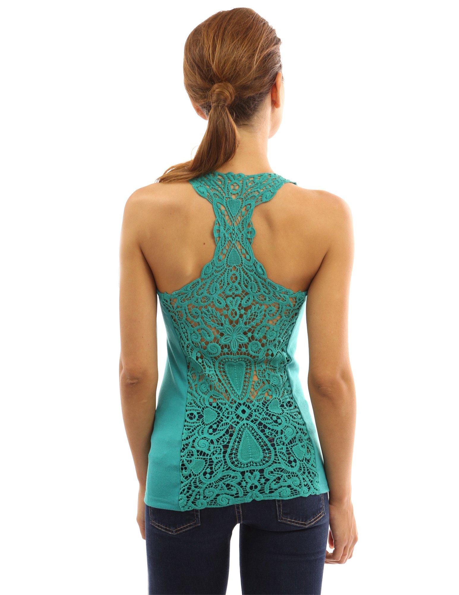 PattyBoutik Women's Crochet Lace Racerback Tank Top (Turquoise S)
