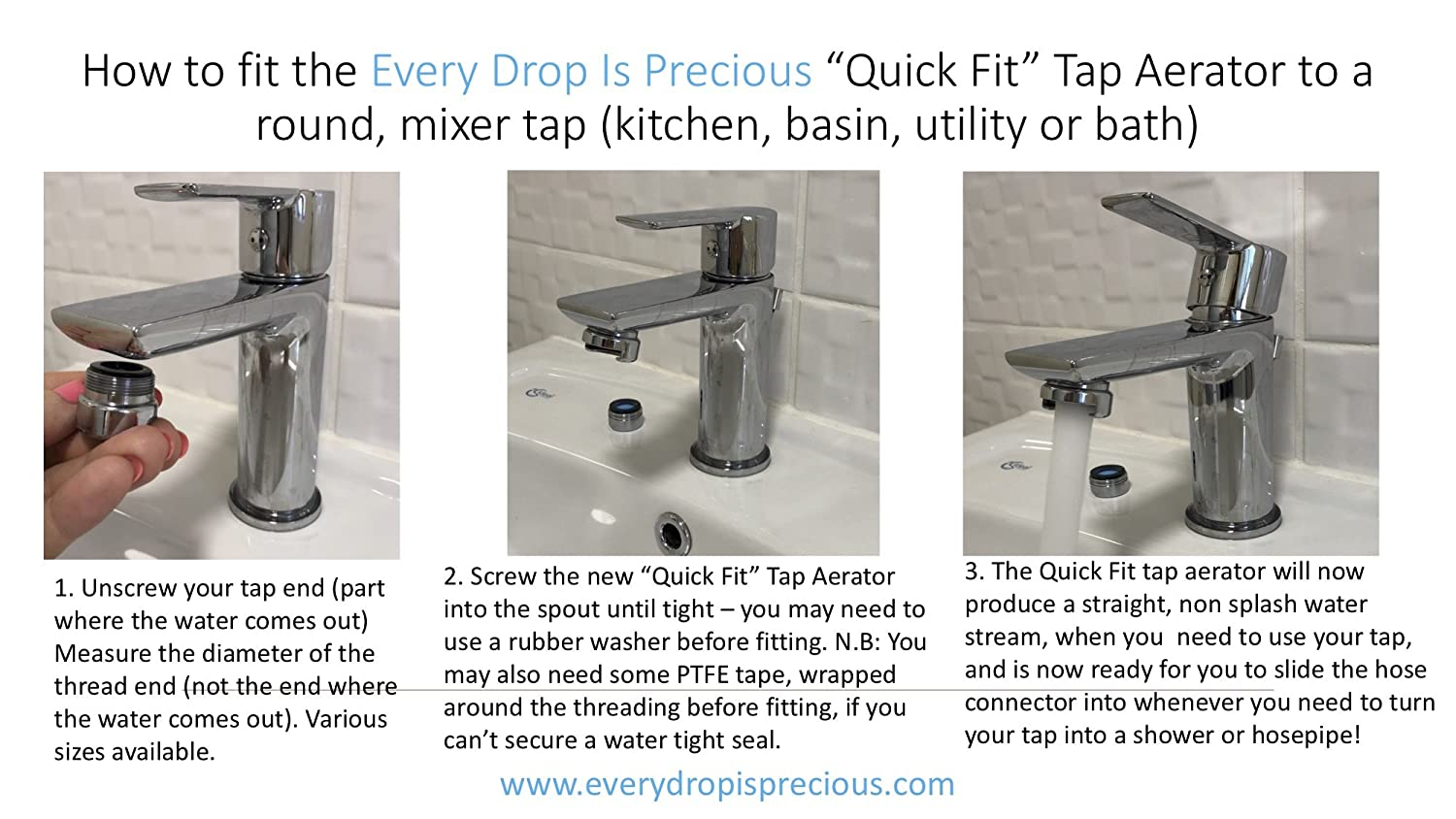 Turn your mixer tap into an instant shower Attach a Shower Hose or Hosepipe to a Tap /& Have a Permanent Tap Aerator and use your tap like normal - no more nasty once fitted Simply push your hose into the secure tap aerators casing Tap End all-in-one