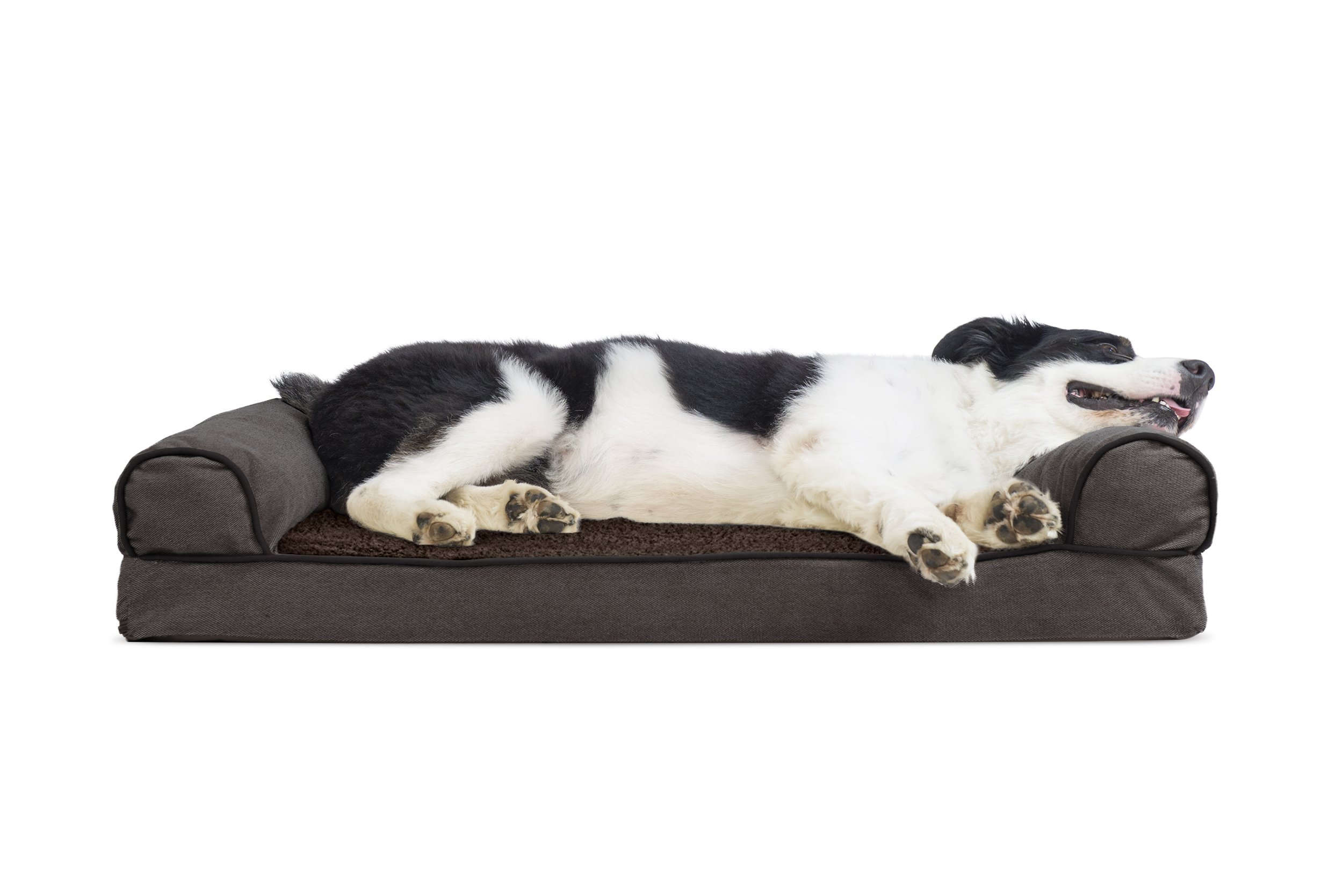Furhaven Pet Dog Bed   Cooling Gel Memory Foam Orthopedic Faux Fleece & Chenille Sofa-Style Couch Pet Bed for Dogs & Cats, Coffee, Large
