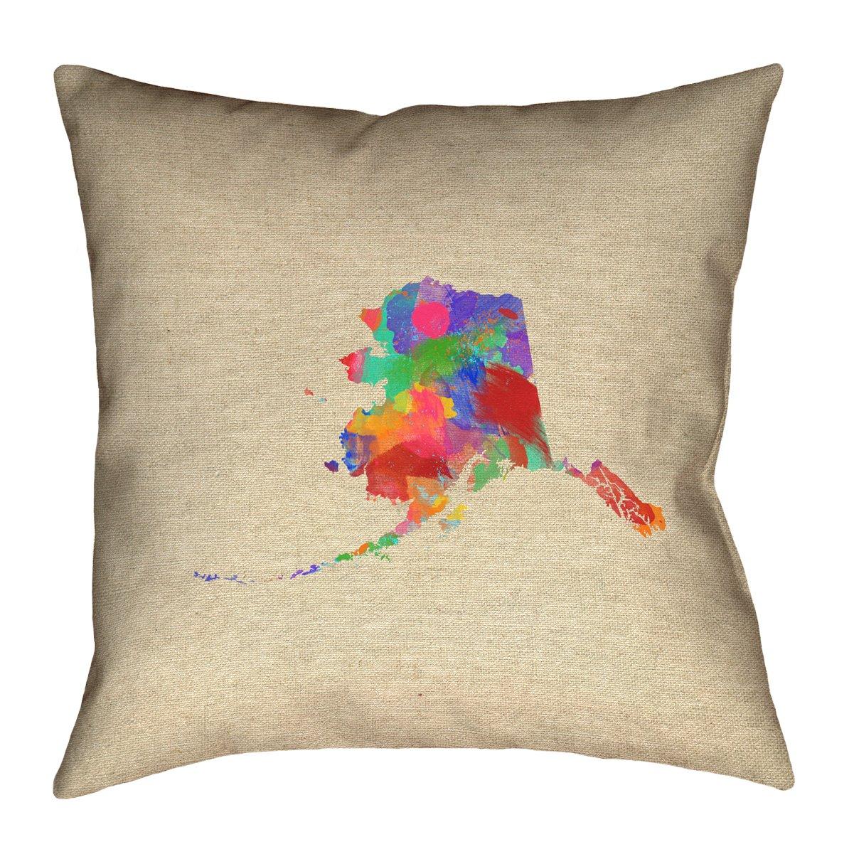 ArtVerse Katelyn Smith 26 x 26 Spun Polyester Alaska Watercolor Pillow