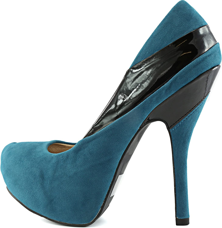 Qupid Women Patent Stripe Tone Platform Round Toe Stilettos High Heel Club Shoes