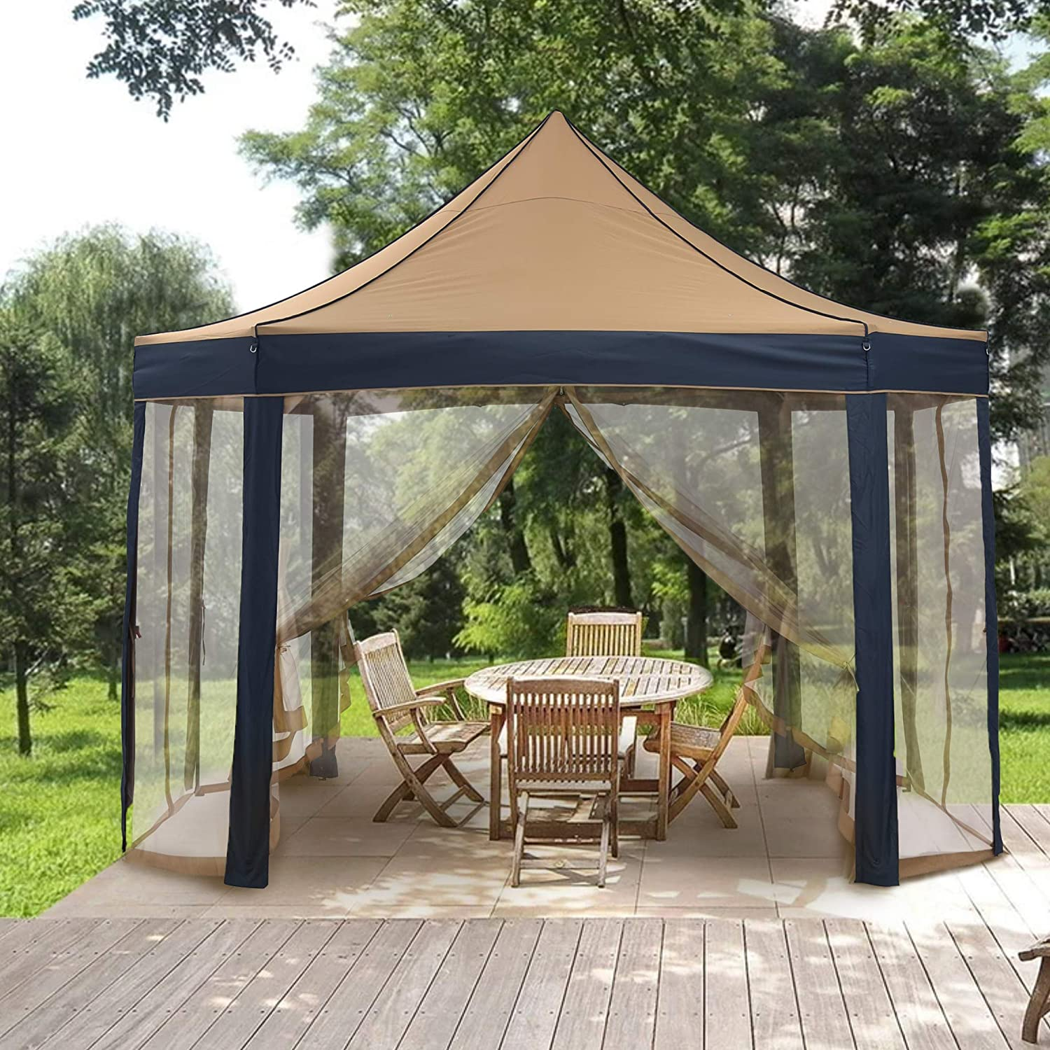 HYD-Parts Outdoor 8-Sided Pop Up Gazebo Canopy Double Top Outdoor Patio Garden Tent Patio Gazebo Shelter with Mosquito Net for Wedding Party (10x13FT)