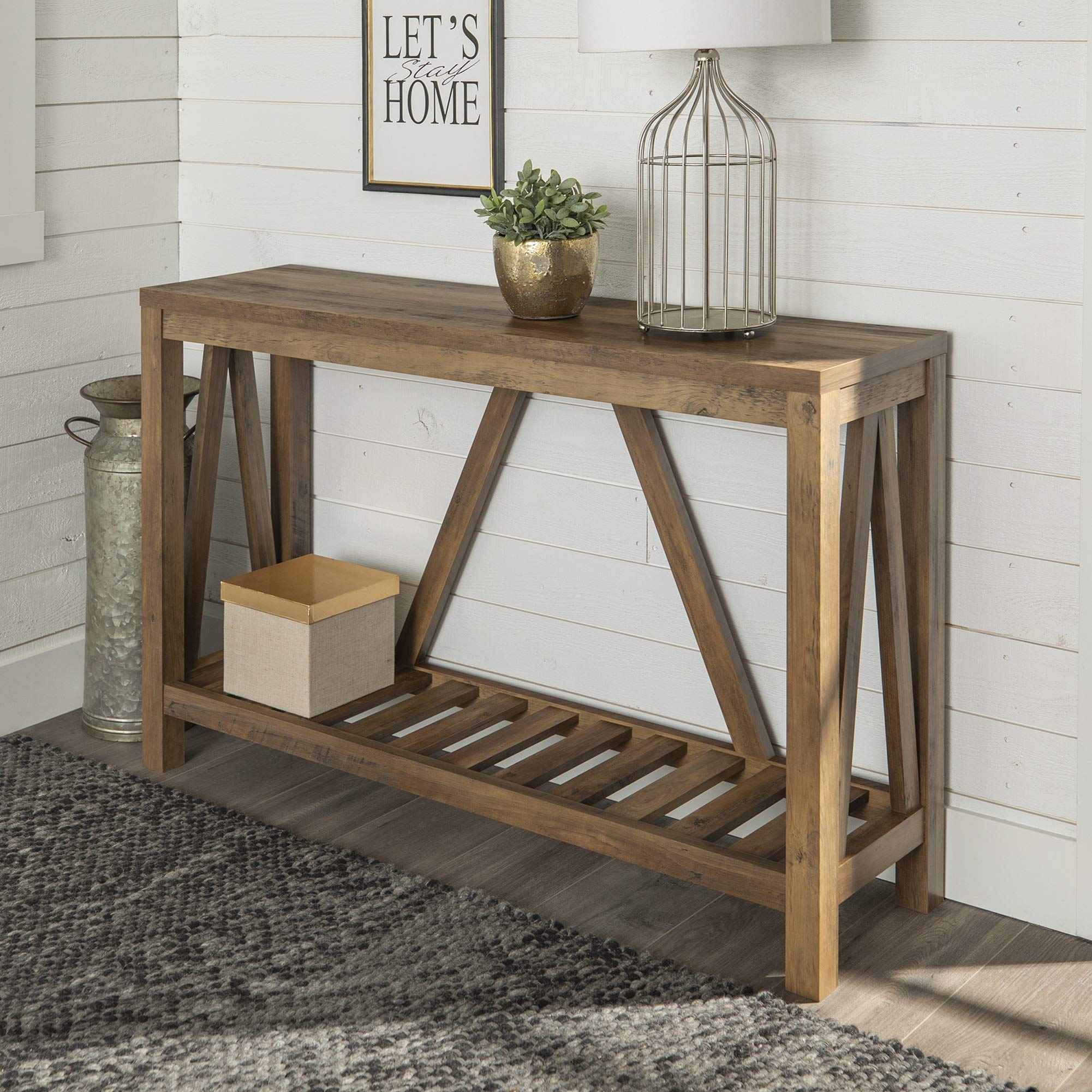 WE Furniture  Modern Farmhouse Accent Entryway Table, 52 Inch, Brown Reclaimed Barnwood by WE Furniture
