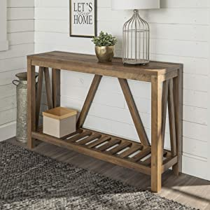 WE FurnitureModern Farmhouse Accent Entryway Table, 52 Inch, Brown Reclaimed Barnwood