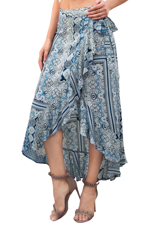 Simplee Women's Summer Maxi Beach Dress Bohemian Wrap Skirt Floral Midi Skirt Blue US 8