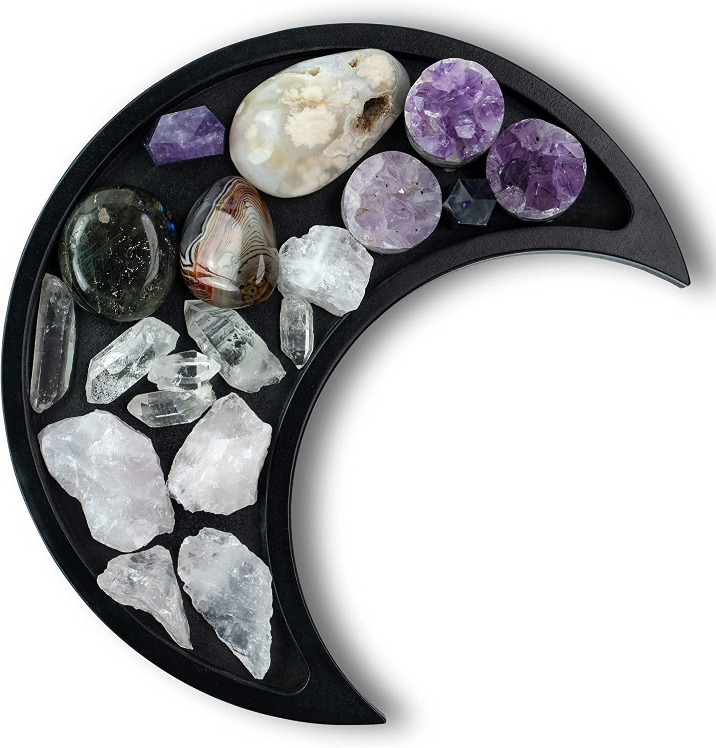 Moon Tray Crystal Holder Display - Black Wooden Crystal Tray for Stones, Healing Crystals Storage and Organizer - Crescent Gothic Witchy Coffin Spiritual Decor - Essential Oil Holder - Jewelry Dish