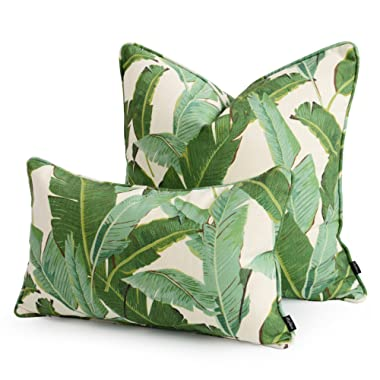 Hofdeco Set of 2 Pieces Premium Decorative Throw Lumbar Pillow Cover HEAVY WEIGHT Cotton Linen Modern Greenery Tropical Banana Palm Leaf 20x20 12x20 Inches 50x50cm 30x50cm