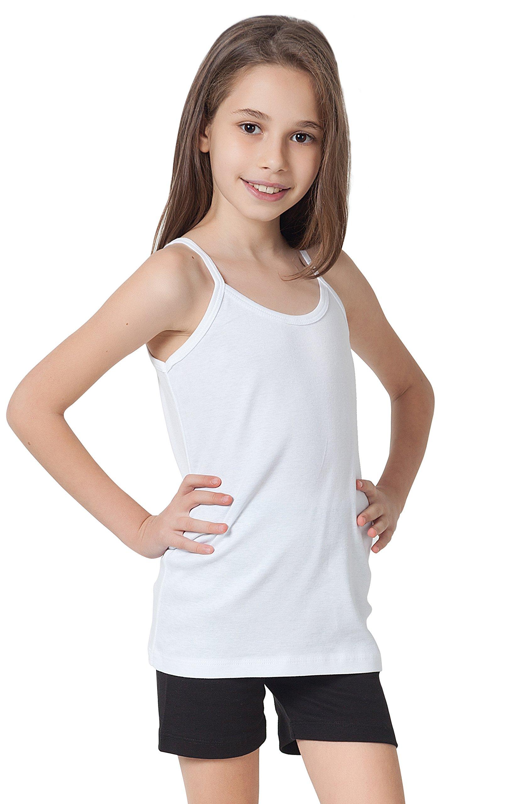 CAOMP Girls Camisole%100 Organic Cotton Undershirt Tank Tee Top (Pack of 2) (11-12, White-White)