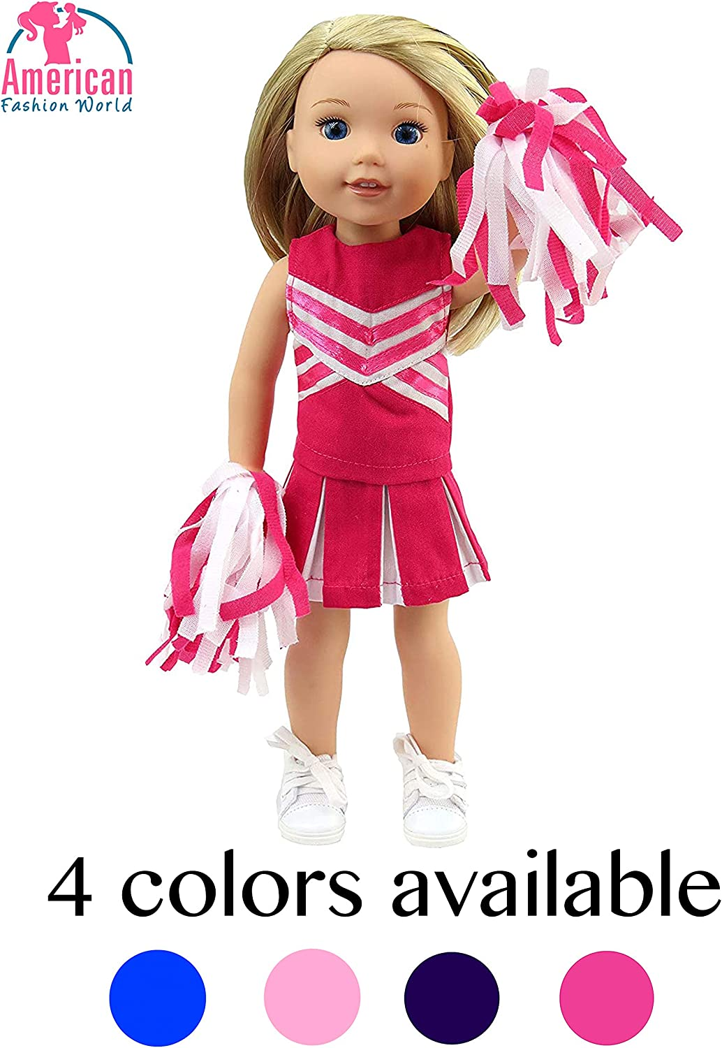 Red Pink Heart Dress Clothes Fits American Girl Wellie Wisher Dolls