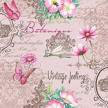 20 Servietten Blumen Vintage Blumenmuster Rosa Geburtstag Zeitlos
