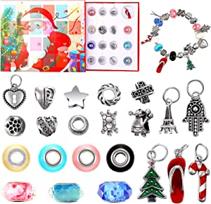 Hicarer 24 Pieces Christmas Jewelry Advent Calendar 24 Days Xmas Countdown Advent Calendar with Christmas Bracelet Charms Jewelry for Kids Girls Daughter DIY Present