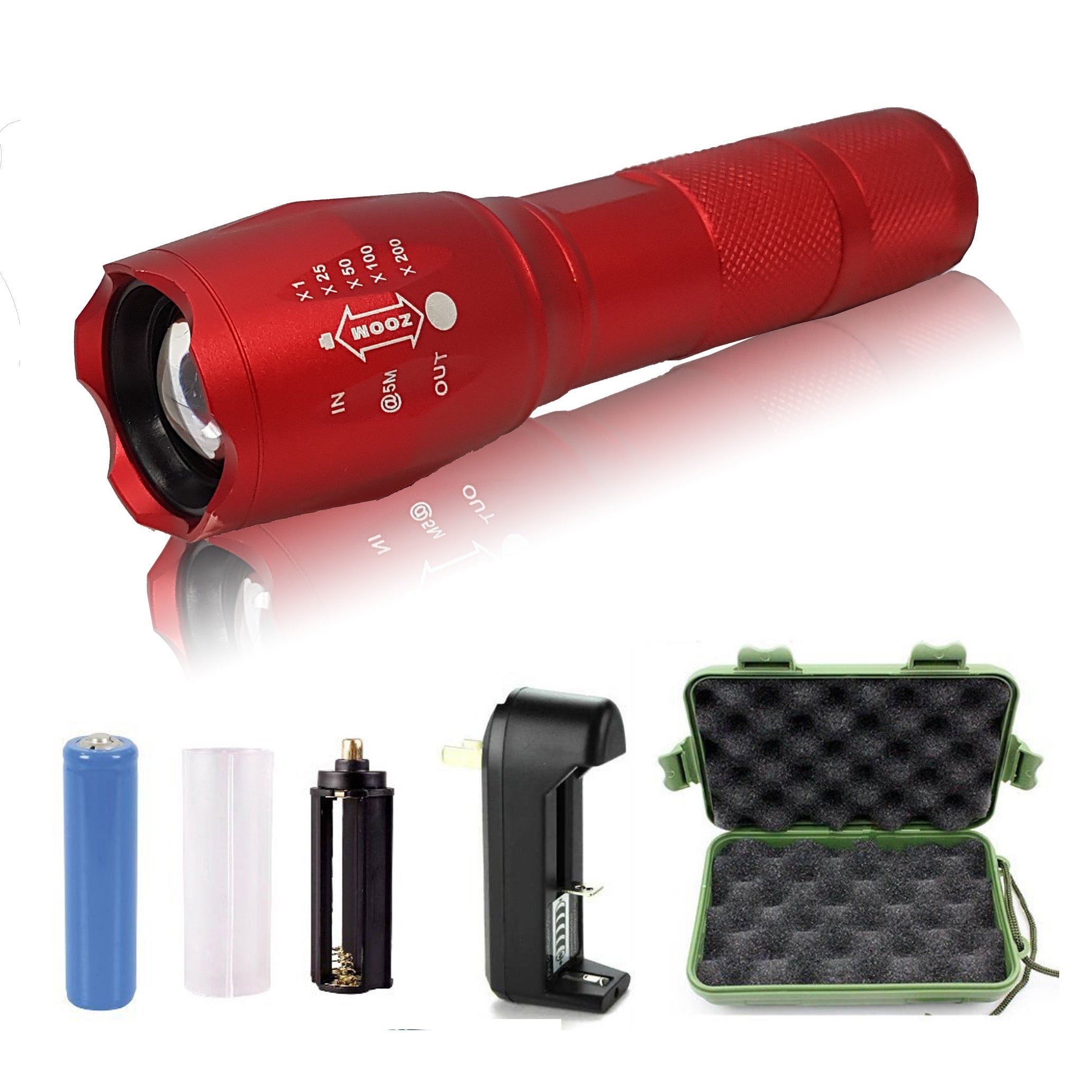 5starsuperdeals Rechargable Plastic/Aluminum 5-mode, Adjustable-focus, Ultra-bright LED Flashlight Kit Red