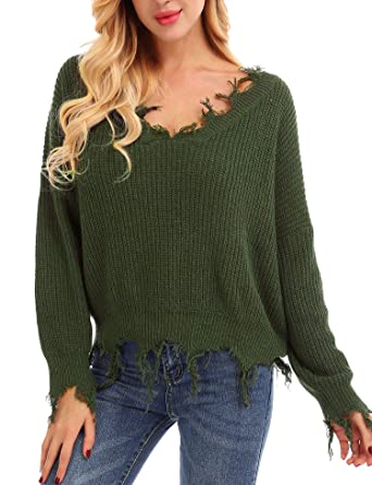 7951a86a668 FISOUL Women Sweaters Sexy Fashion Knit Deep V Neck Long Sleeve Loose Crop  Sweaters Pullover Jumper