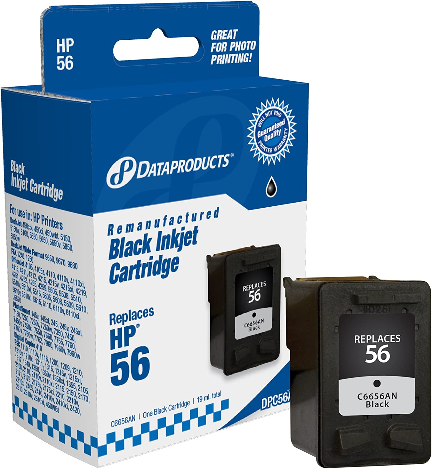 Dataproducts DPC56A Remanufactured Ink Cartridge Replacement for HP #56 (C6656AN) (Black)