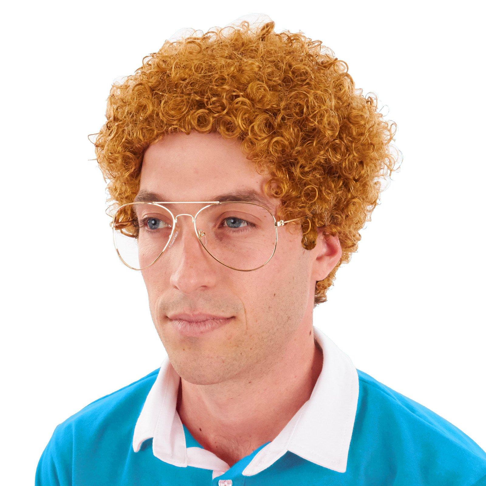 Largemouth Sweet Nerd Geek Costume Wig and Glasses Kit (Strawberry Blond)