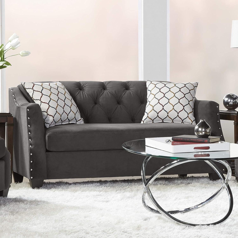 Roundhill Furniture Moselle Transitional Modern Velvet Tufted Love Seats, gray