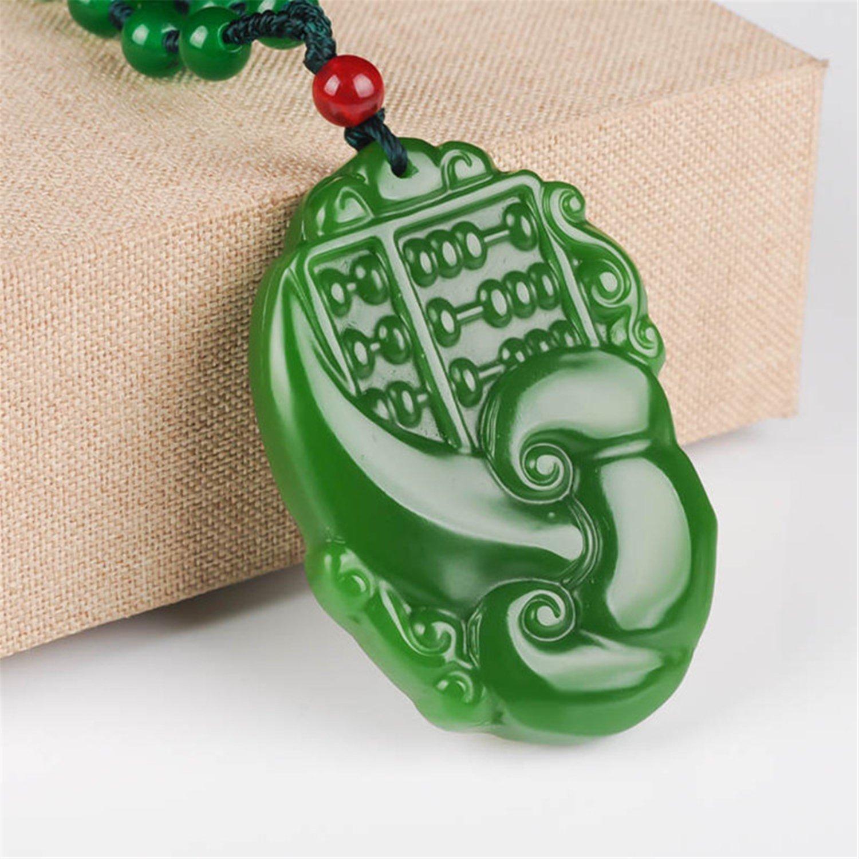 yigedan Natural Chinese green jade wishful abacus pendant necklace