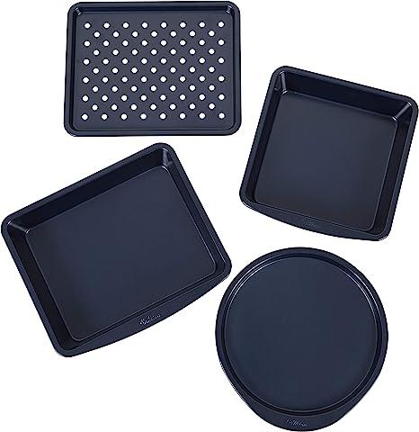 Wilton Non-Stick Diamond-Infused Navy Blue Toaster Oven Baking Set, 4-Piece