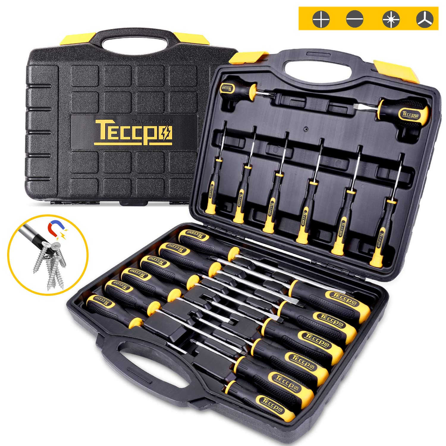 Screwdriver Set, Magnetic 20-Piece Screwdriver Tool Set with Case, 6150CRV, Precision Slotted/Phillips/Torx Screwdriver with Heavy Duty Non-Slip Tips, Craftsman Tool Kits TECCPO-THTC03H by TECCPO
