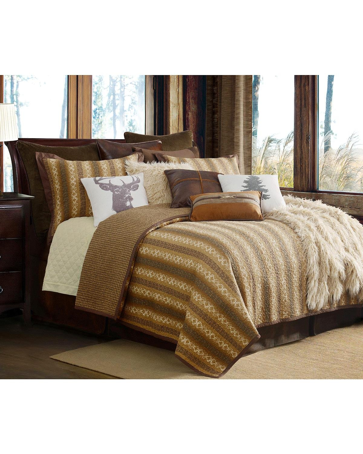 HiEnd Accents QL1805-FQ-OC 3 Piece Reversible Hill Country Quilt Set, Full/Queen