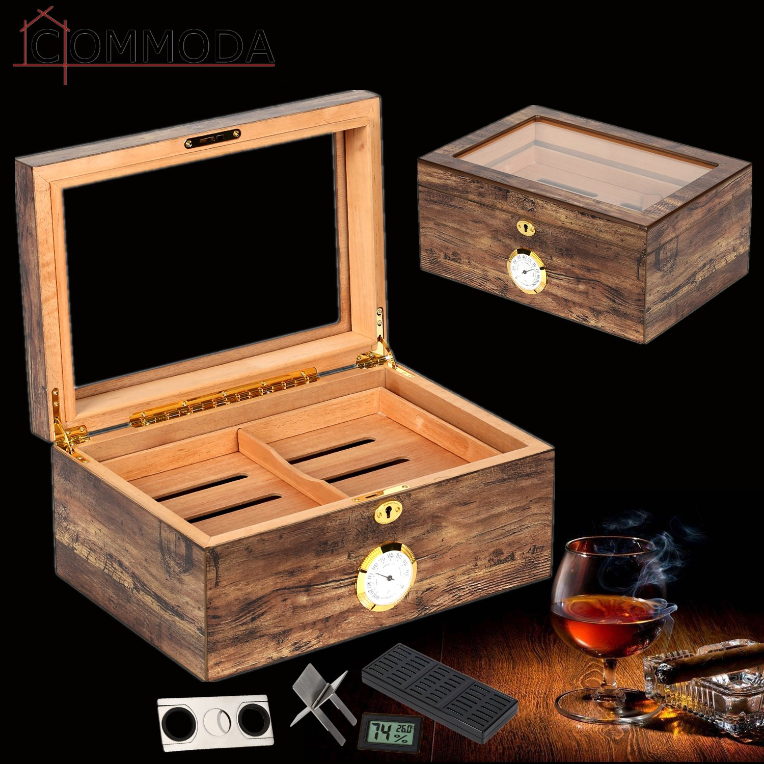 COMMODA Desktop Cigar Humidor Tempered Glasstop with Front Mounted Hygrometer and Humidifier, Cedar Lined Storage Box Spanish Cedar Tray with Divider, Holds 100 Cigars Cigar Free Cutter and Rack by COMMODA (Image #3)