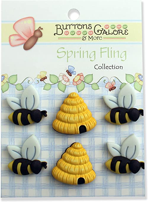 Buttons Galore Spring Fling Buttons-Busy Bees