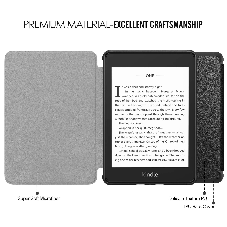 10th Generation, 2018 Release Material Suave TPU Transparente Flexible Trasera de Goma Esmerilada para  Kindle Paperwhite Negro Funda TiMOVO Kindle Paperwhite E-Reader