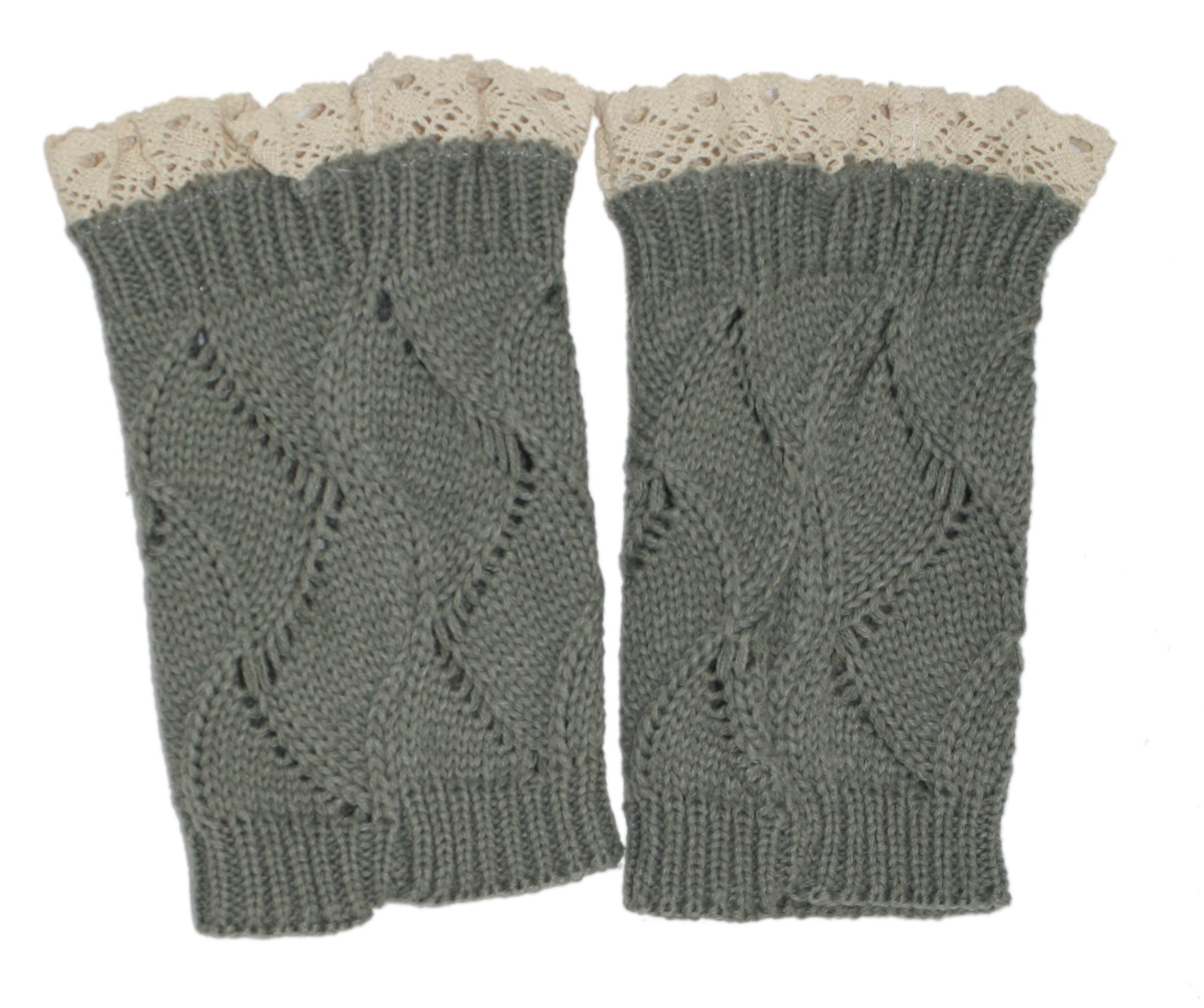 Modern Minute - Lace Top Wave Cable Knit Legwarmer Boot Topper in Grey