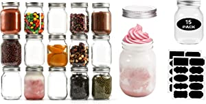 16 oz Mason Jars With Lids Regular Mouth 15 Pack-16 oz Glass Jars with Lids,Bulk Pint Clear Glass Jars For Meal Prep, Food Storage With 20 Labels (Silver Lids)