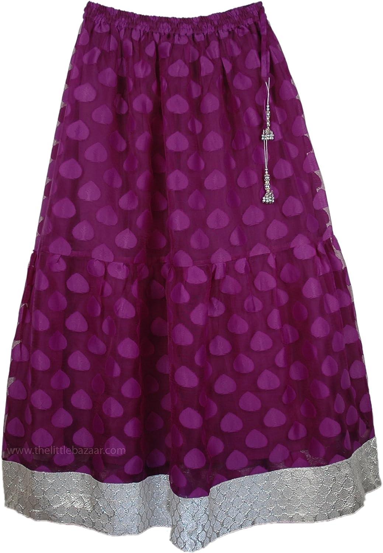 """TLB - Fancy Nancy Long Skirt in Purple Mesh with Silver Border - L:38""""; W:28""""-38"""""""