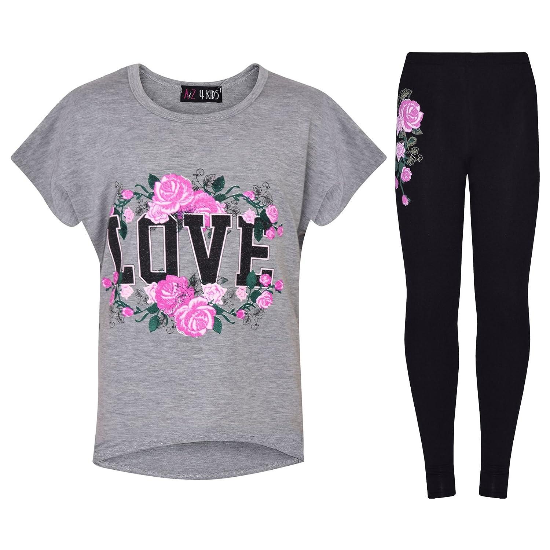 A2Z 4 Kids/® Girls Top Kids Love Print Trendy T Shirt Tops /& Fashion Legging Set New Age 7 8 9 10 11 12 13 Years