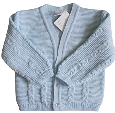 fc4f92b25 Nursery Time Baby Boys Knitted Cardigan in Pale Blue with Cable ...