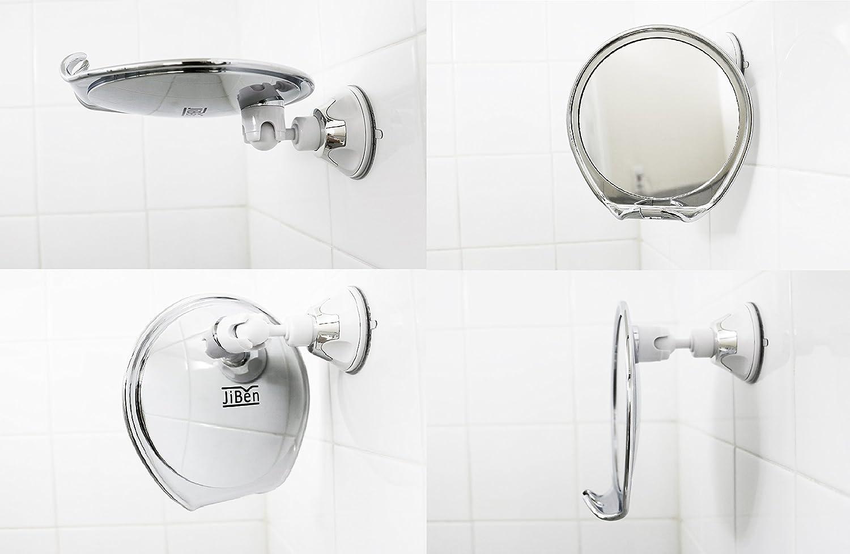 Amazon.com: JiBen Fogless Shower Mirror with Power Locking Suction ...