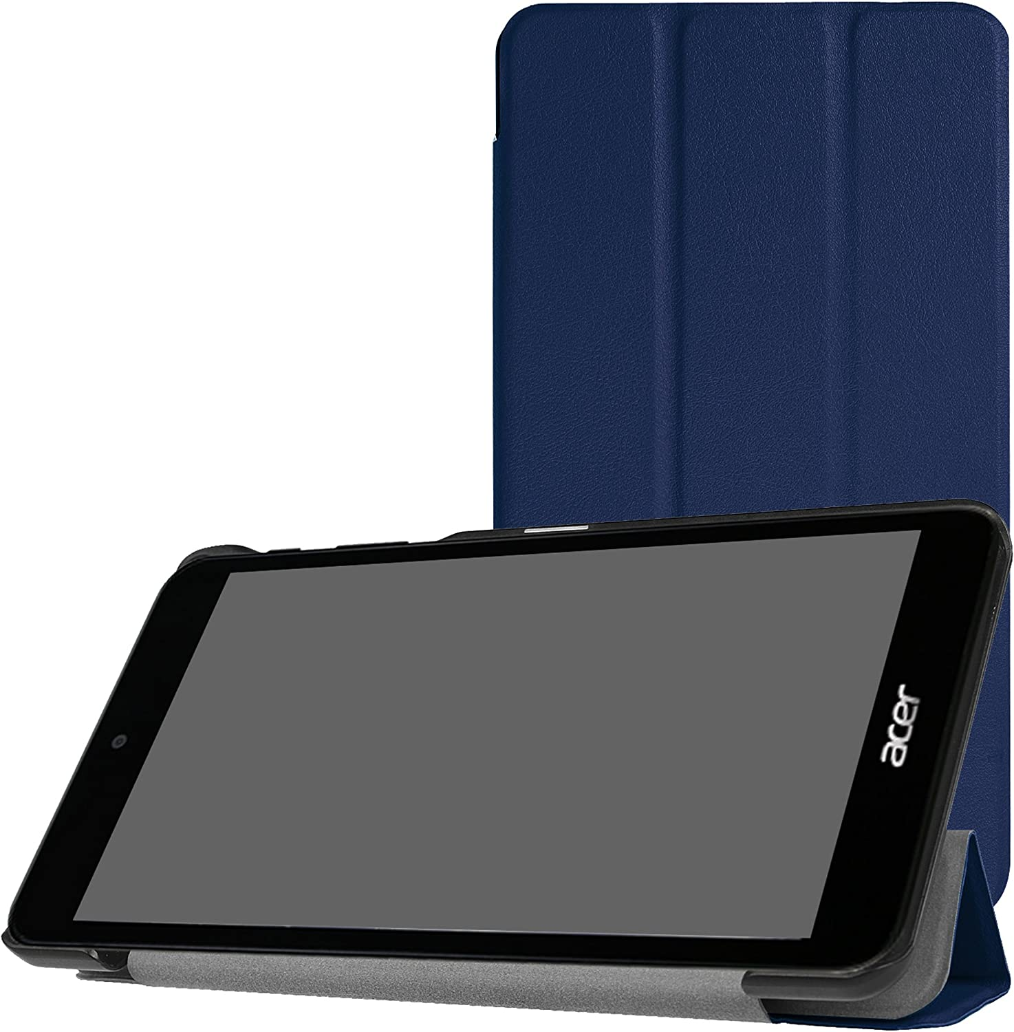 Acer Iconia One 7 B1-790 Slim Shell Case,Mama Mouth Ultra Lightweight PU Leather Standing Cover for Acer Iconia One 7 B1-790 7.0-Inch Tablet [with auto Wake/Sleep Feature],Dark Blue