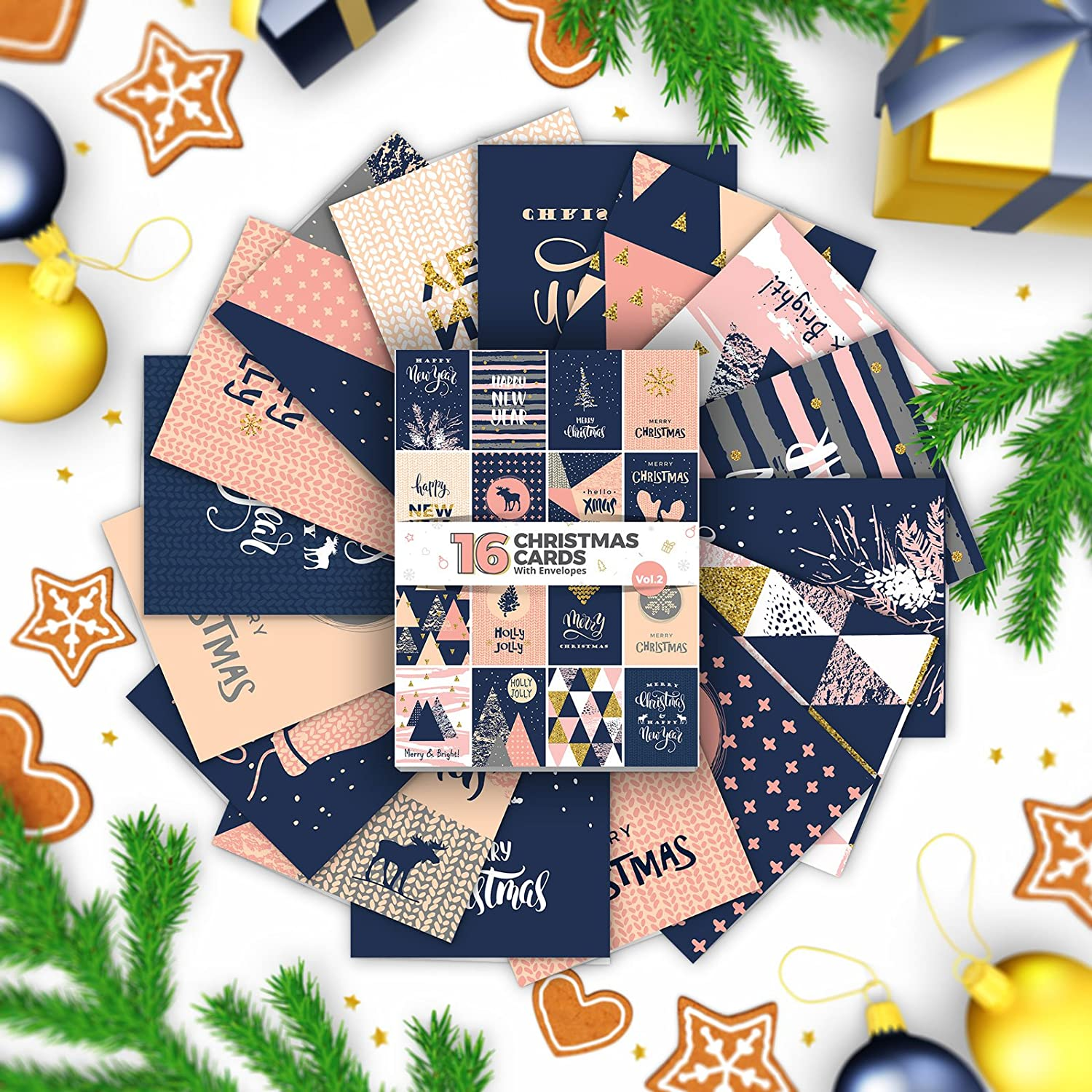 16 X Christmas & Happy New Year Cards By Joy