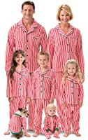 PajamaGram Candy Cane Fleece Matching Family Pajamas, Red/White