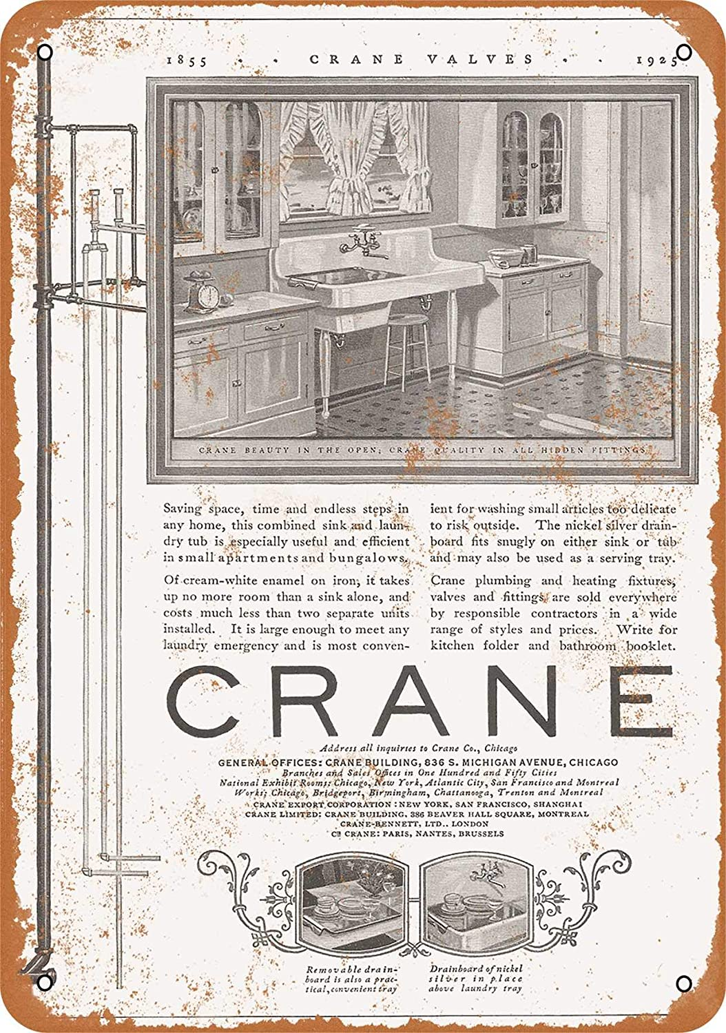 Amazon Com Wall Color 7 X 10 Metal Sign 1925 Crane Combo Sink And Laundry Tub Vintage Look Home Kitchen