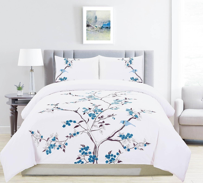 Superior 100% Embroidered Cotton Cherry Garden Duvet Cover 3-Piece Bedding Set; Sky Blue - Full/Queen