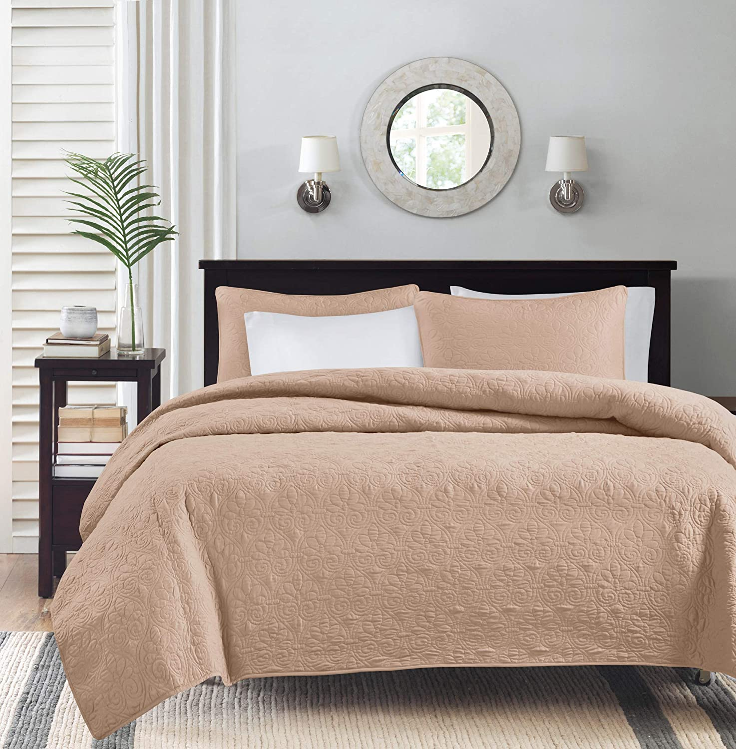 bluesh Full Queen Size Madison Park Quebec Dusty Pale bluee 3-Piece Quilted King Coverlet Set—For King or Cal King Bed –Ideal For Warm Climate Room Décor or Add-on For Extra Warmth