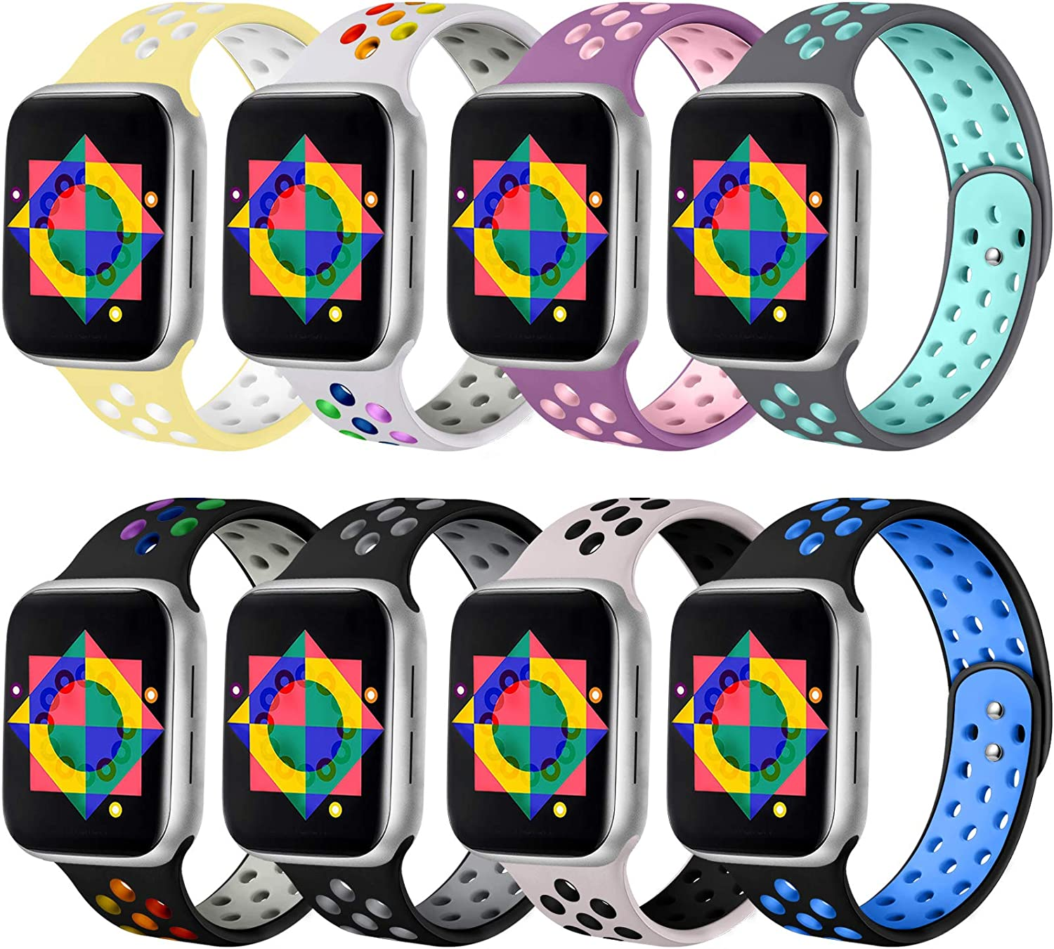 ilopee Rainbow Sport Bands Compatible with Apple Watch 5 40mm Band Series 6 SE 4 - Classic Breathable Holes Silicone Wristband for iWatch Bands 38mm Women Men Series 3 2 1, Pack of 8, S/M