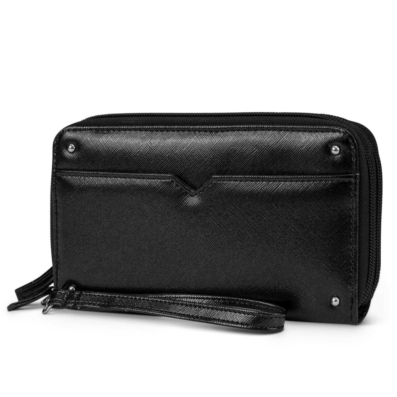 Mundi Double Zip Vegan Leather Womens RFID Clutch Wallet With Wristlet Strap (Black)