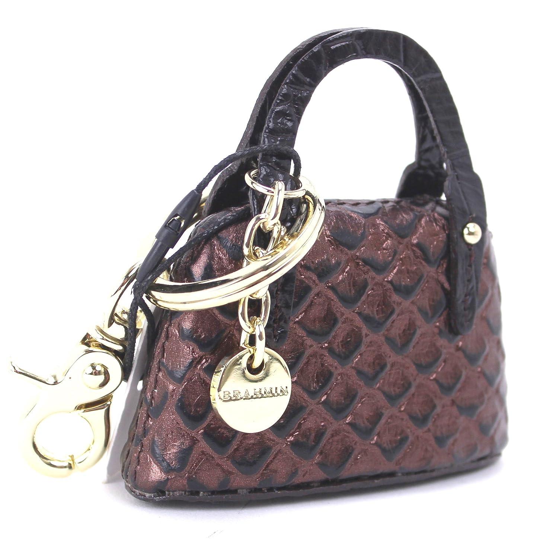 Brahmin Genuine Leather Handbag Keychain (Bronze)