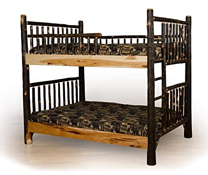 Amazon Com Rustic Hickory Log Twin Over Twin Bunk Beds Amish