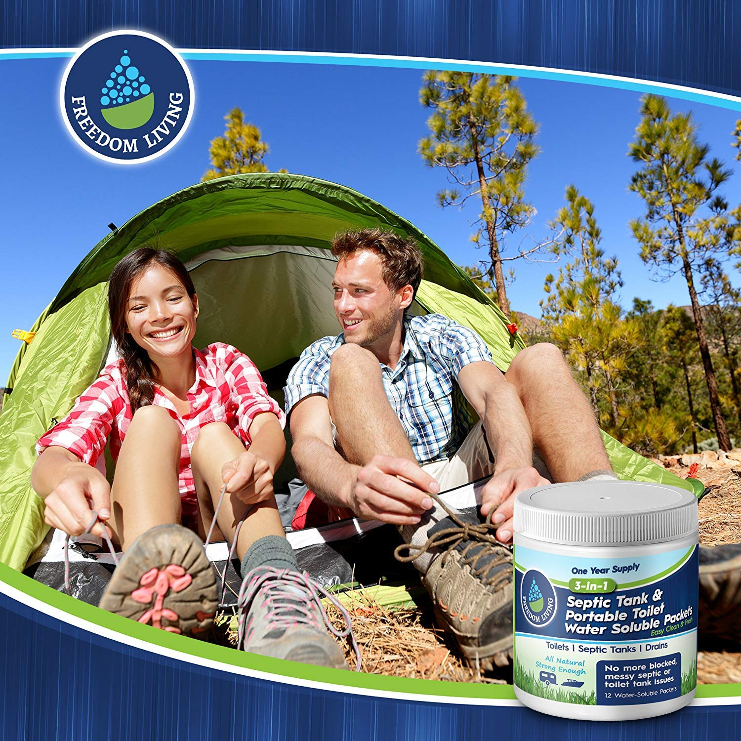 Septic Tank Treatment & Holding Tank Deodorizer Tablets, 1 year supply, Bio clean Packs for RV, Marine Portable Toilets, toilet cleaning chemicals, All Natural. Must have RV accessories by Freedom Living (Image #6)
