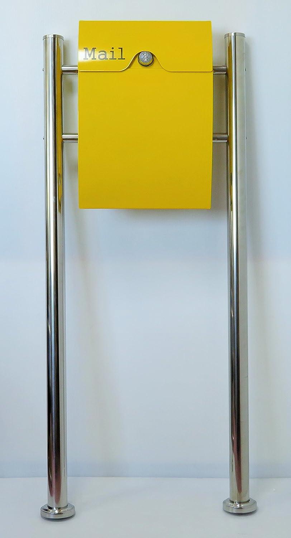 郵便ポスト郵便受け北欧風大型スタンド型ダイヤル錠付プレミアムステンレス黄色ポストpm163s B018NNT5UQ 20880