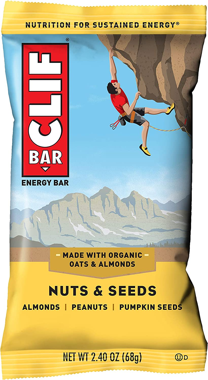 CLIF BAR - Energy Bars - Nuts and Seeds - (2.4 Ounce Protein Bars, 12 Count)